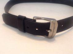 Levi Strauss & Co. Mens Black  Italian Leather Belt Sz 38/95 Logo Snap On Buckle #LeviStraussCo