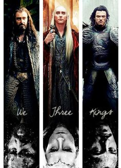 Thorin Thranduil and I'm pretty sure thats some dude from Dracula but also plays Bard. Gandalf, Legolas, Fellowship Of The Ring, Lord Of The Rings, Lotr, The Misty Mountains Cold, We Three Kings, J. R. R. Tolkien, Luke Evans