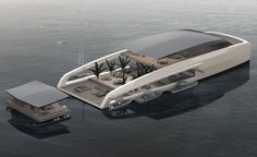 Created by designers in Monaco, the X R-Evolution yacht is designed to give its owners privacy so they could stay in floating 'bungalows' by the beach. Yacht Design, Boat Design, Floating Architecture, Architecture Design, Floating House, Floating Garden, Floating Island, Cool Boats, Yacht Boat