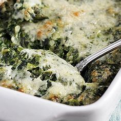 I love spinach, but I've never tried a creamed gratin yet! Yum. Maybe I need to quit pinning food and go home and eat. #ezrapoundcake Creamed Spinach Gratin