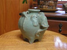 Vintage Ceramic Pottery Elephant Vase made in by ArtfulHeart