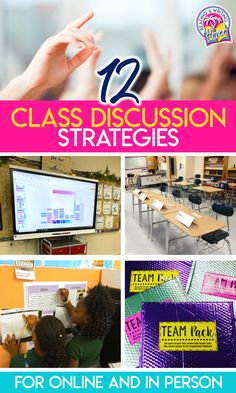 12 FRESH, flexible, and inspirational ideas for classroom discussion strategies. Find ideas for online discussions, in-person discussions, and some for blended learning. #MiddleSchool #HighSchool #DiscussionStrategies #BlendedLearning