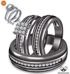 14K Black Gold His Her Bridal 1.90 Ct Diamond Wedding Band Engagement Ring Sets