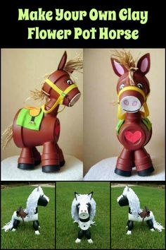 These clay flower pot horses are adorable additions to your garden.
