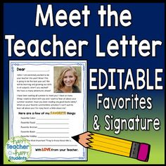 This back to school letter is ready to be personalized with a few of your favorite things, a signature and your photo so your students can 'Meet the Teacher'! Send this letter out to your new class of students over summer vacation or at the very beginning of the school year.