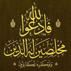 "Muhtâr Âlim'e ait C.Sülüs ""O halde kâfirlerin hoşuna gitmese de dini yalnız… Arabic Calligraphy Art, Arabic Art, Calligraphy Letters, Allah, Lion Pictures, Quran Quotes, Holy Quran, Types Of Art, Islamic Art"