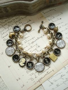 STORYBOOK ROMANCE - Typewriter Key Bracelet. Dictionary Jewelry. Beaded Charm Bracelet. Upcycled Literary Assemblage Bracelet. Bookish Gift.