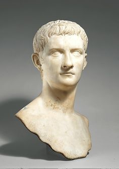 Marble portrait bust of the emperor Gaius, known as Caligula, A.D. 37-41; Roman; Metropolitan Museum of Art, New York. The portrait style created for Augustus was adopted by his family and immediate successors in order to stress the unity and continuity of the Julio-Claudian dynasty. This fine bust of Caligula has regular features and carefully designed locks of hair similar to those in portraits of Augustus.