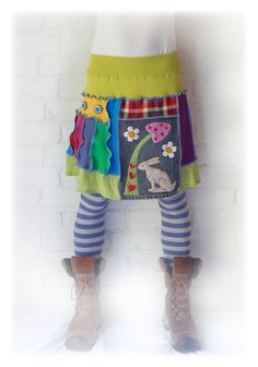 Hare Rainbow Skirt Upcycled Stretch Flared Daisy by TheTopianDen