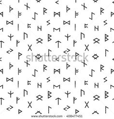 Abstract seamless grunge pattern of Elder Futhark runes on white background. Design element for background, textile, paper packaging, wrapping paper and other. Vector illustration.