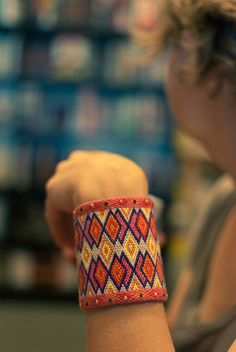 Hand Embroidered Bargello Diamond Carnivale Cuff by blu poppy studio Bargello Patterns, Bargello Needlepoint, Bargello Quilts, Loom Beading, Beading Patterns, Palestinian Embroidery, Knit Or Crochet, Needlework, Cross Stitch