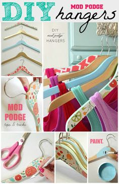 DIY Mod Podge Hangers | LiveLoveDIY--what a fun idea to do for a baby shower...if we could find the wooden hangers in a baby size, each person could paint a hanger for the baby's closet!  Love this idea!