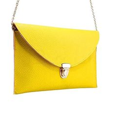 New Trending Clutch Bags: niceEshop(TM) Fashion Women Leather Handbag Shoulder Chain Bags Envelope Clutch Crossbody Satchel Purse ,Yellow. niceEshop(TM) Fashion Women Leather Handbag Shoulder Chain Bags Envelope Clutch Crossbody Satchel Purse ,Yellow   Special Offer: $5.89      200 Reviews The Leather Envelope Clutch will hold your belongings fashionably. The button lock ensures the carrier that it is closed, and a failsafe...