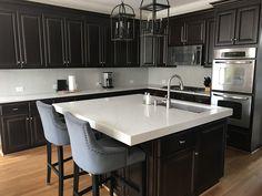 Kitchen is done! Granite Edges, Beautiful Modern Homes, Modern Lodge, Herringbone Backsplash, Stone Sink, Kitchen Reno, Faucet, Countertops, Quartz