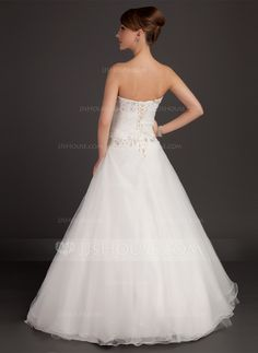 Ball-Gown Sweetheart Floor-Length Satin Organza Wedding Dress With Ruffle Lace Beading (002015485) - JJsHouse