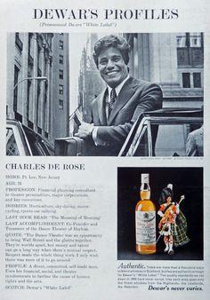 White Label Scotch Whiskey  70 s print ad  Color Illustration   Charles De Rose   magazine art