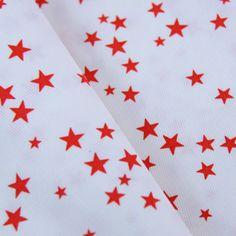 NOUVEAU Piqué de coton imprimé étoiles rouges Les 3 mètres à 15 € !