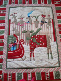 Patchwork Wallhanging / Christmas Reindeer lap by ComfyCosyCrafts, $110.00