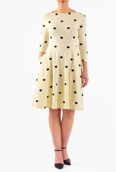 21c7e973e30 Our heart embellished retro dress beautifully recaptures ladylike romance  in a soft stretch-jersey with