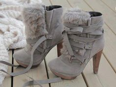 Grey lace up booties with fur - how cute r these?!