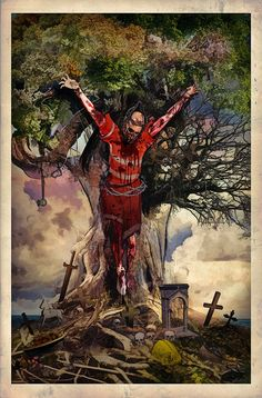 """EFJI Poster- """"Purification"""" This is a limited-edition splash page from EFJI featuring a construction worker crucified on a tree. Art by illustrator Mortimer Glum. Phantom, Splash Page, Horror Comics, Construction Worker, Vatican, Book Series, Cover, Comic Books, Island"""