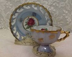 Japan-Tea-Cup-and-Saucer-Blue-Luster-Footed- : bavaria gold plated tea set - pezcame.com