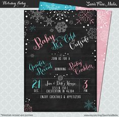 Baby It's Cold Outside Gender Reveal Chalkboard Party Invitation / Baby Christmas Holiday Gender Reveal / Baby Shower Invitation by SavoirFaireMedia on Etsy #gender reveal #babyitscoldoutside #blue #pink #chalkboard #snowflake