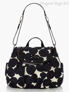 New Kate Spade Randi Splodge Dot Baby Diaper Bag Black White Polka Dot | eBay