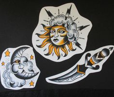 Traditional Tattoo Flash by Jermaine Taylor - Jermaine Taylor Tattoos - Sun Tattoo Flash - Moon Tattoo Flash - Sun and Moon Tattoo Flash - Dagger Tattoo Flash © www.jermainetaylortattoos.com