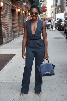 Lupita Nyong'o for her appearance on The Late Show with Stephen Colbert wearing ZAC Zac Posen Eartha Iconic Soft Top Handle Bag: