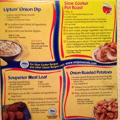 Lipton Onion Soup recipes from the back of the box