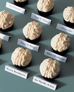Brain Cupcakes. Gotta learn to make those squiggles by hand, with frosting!