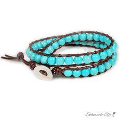Wickel Armband Echt Leder braun mit echten Türkis Perlen