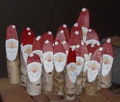 Birch tree santas - could just as easily turn these into snowmen or penguins . . . even reindeer if you add antlers