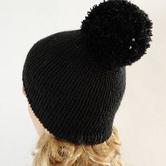 e4fea006417 Winter beanie hat women Black pom pom beanie Knit hat women