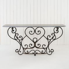 Wrought Iron Console Table – Allissias Attic & Vintage French Style at… Wrought Iron Console Table, Wrought Iron Decor, Iron Wall Decor, Iron Furniture, Upholstered Furniture, Furniture Design, Rustic Stone, Tuscan Decorating, Tuscan Style