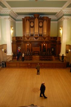 The Grand Lodge of Scotland, 96 George Street, Edinburgh, Scotland. The Grand Lodge of Antient, Free and Accepted Masons of Scotland was founded in 1736 – although only a third of all lodges were represented at the foundation meeting of the Grand Lodge. Grand Hall looking east. The present Freemasons' Hall was built during 1911 - 1912. It replaced an earlier building that had been on the site since 1858. The previous building was designed by the famous Scottish architect, David Bryce.