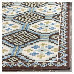 "Nikita Indoor/Outdoor Rug - Blue / Chocolate - 6'-7"" X 9'-6"" - Safavieh, Blue Brown"