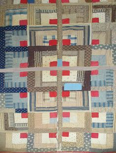 You don't see many vintage half-a-log-cabin quilts although it's an easier pattern than the traditional full log-cabin block. No set-in seams. This quilt is from about 1890.  Barbara Brackman's MATERIAL CULTURE: Half a Log History and Free Pattern