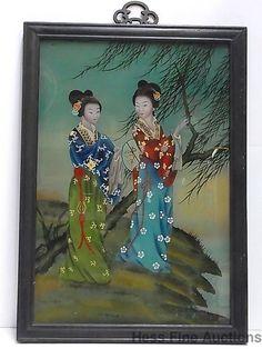 Antique Asian Japanese Geisha Womenin Kimono Reverse Glass Painting