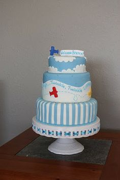 Airplane birthday cake - three tier