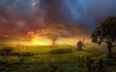 Wallpaper mit einer beeindruckenden Himmel grandiose Landschaften und eine atemberaubende Landschaft des exzentrischen