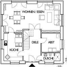Stadtvilla Grundriss Erdgeschoss mit 77,75 m² Wohnfläche