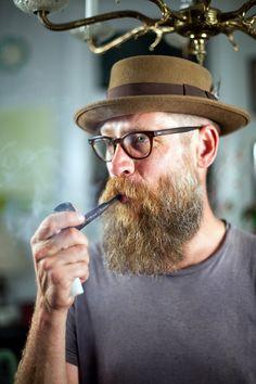 candywithstrangers: Jon with pipe [[ Follow BeardsFTW! ]]