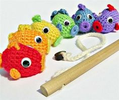 Fishing Set - Crocheted Rainbow Fish & Pole - Magnetic - *Pattern also available* on Etsy, kr Diy Tricot Crochet, Crochet Fish, Crochet Amigurumi, Crochet Motifs, Cute Crochet, Crochet Animals, Crochet For Kids, Crochet Crafts, Crochet Dolls