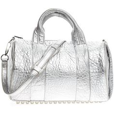 Pre-Owned Alexander Wang Rocco Satchel Leather ($455) ❤ liked on Polyvore featuring bags, handbags, metallic silver, white satchel handbags, white leather handbags, satchel purses, leather satchel and satchel handbags