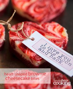Treat your loves ones to this delectable dessert this Valentine's Day. Brownies and chocolate collide with raspberry jam for the ultimate sweet treat for your sweeties. Click or tap photo for this Marbled Mini Heart-Shaped Brownie Cheesecake Bites Köstliche Desserts, Holiday Desserts, Dessert Recipes, Valentines Baking, Valentines Day Food, Valentine Cupcakes, Brownie Cheesecake Bites, Cheesecake Recipes, Baking Recipes