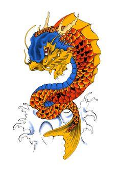 Koi dragon  Tinta y color digital
