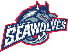 Stony Brook Seawolves Primary Logo (1998) - Wave forming body of a wolf over script