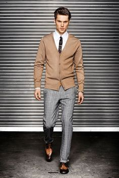 Camel Cardigan, Gray Slacks, and Blackened Brown Shoes. Men's Fall/Winter Fashion.